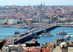 Foreground: Galata Bridge Background: The Old City, Istanbul