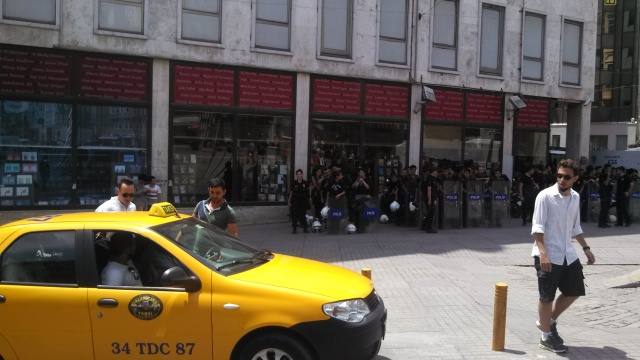 Bored riot cops on Istiklal Ave