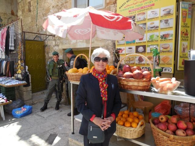 Bobbie Lord in a Jerusalem market.