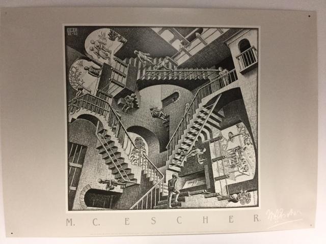 Relativity, by M. C. Escher, 1953