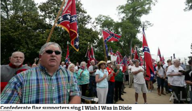"""Confederate Flag Supporters Sing """"Dixie"""""""